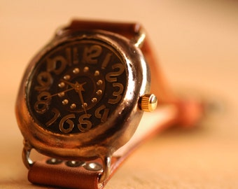 Vintage Retro Steampunk Handcraft Wrist Watch with Handstitch Leather Band /// DasBoot - Perfect Gift for Birthday and Anniversary