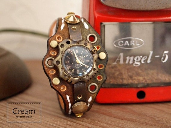 Vintage Retro Steampunk Handcraft Watch with Handstitch Leather Band /// Catacomb - Perfect Gift for Birthday and Anniversary