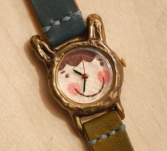 Cute Vintage Handmade Wrist Watch with Handstitch Leather Band /// A cute rabbit Popo - Perfect Gift for Birthday