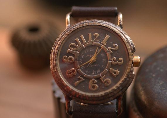 Vintage Retro Steampunk Handcraft Watch with Handstitch Leather Band /// FonsTempus - Perfect Gift for Birthday, Anniversary