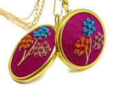 Embroidered Flower on burgundy Silk fabric Pendant Necklace