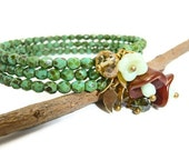 Nature wrap bracelet, green turquoise glass beads memory bracelet mint bronze flower beads