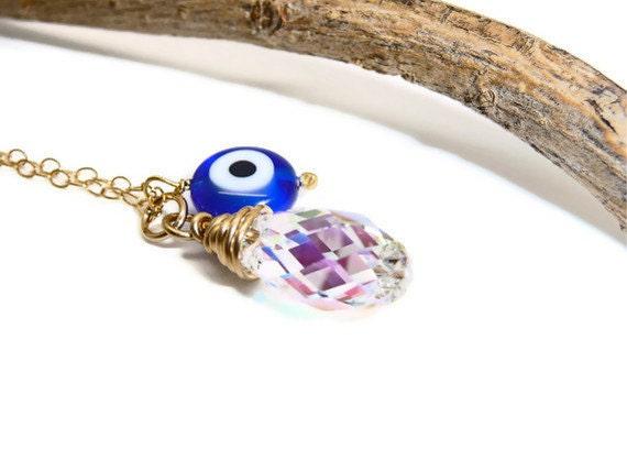 Blue evil eye crystal gold necklace, swarovski crystal briolette pendant and Turkish evil eye bead on 14k Gold Filled Chain