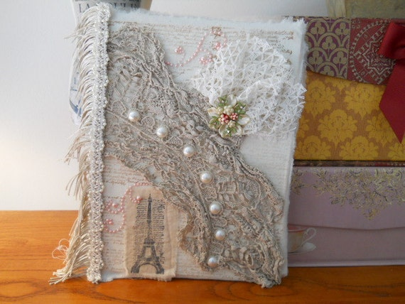 Journal - Altered with Vintage Laces and Doilies