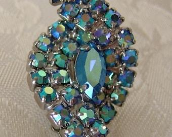 Vintage  Earrings - Rhinestone - Iridescent - Aurora Borealis- Clip on-Something Blue
