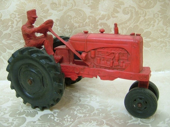 Vintage 1950's Orange / Red Auburn Rubber Tractor- 572
