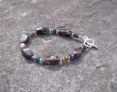 Paint Box Bracelet Purple Green Red Amethyst Mix Jade Mix and Crystal Czech Glass