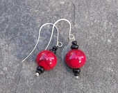 Poppers Earrings Red & Black