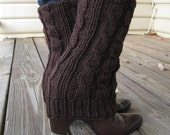 Hand knitted leg warmers/boot cuffs/ boot cover, 100% wool ,cable knitted, color in dark brown or CHOOSE YOUR COLOR