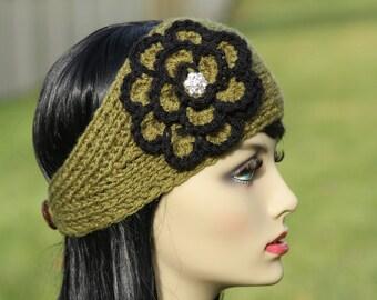 Hand Knitted headband - Earwarmer - Neckwarmer - Crocheted flower  - Wool Blend -  Sparkling Rhinestone Center - Green - Winter Accessories