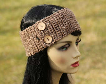 Hand crochet headband/earwarmer with coconut shell button  ,color in Barley or CHOOSE YOUR COLOR