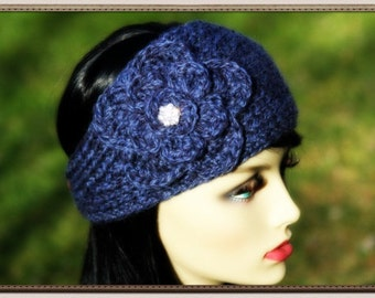 Hand knitted headband/earwarmer with very shiny rhinestone button , 100% LAMB'S WOOL(soft wool), color in marled blue
