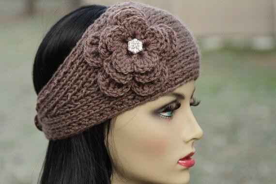 Ear Warmer - Headband - Head Wrap - Hand Knit - Taupe - Crochet Flower - Sparkling Rhinestone - Woman - Teens - Girly - Winter Accessory