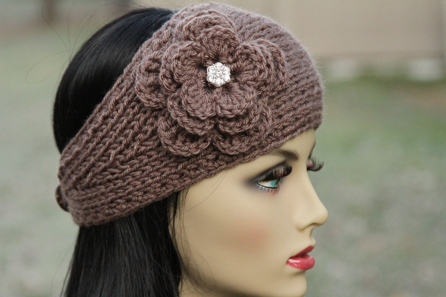 Knitting Patterns For Ear Warmers With Flower : Ear Warmer Headband Head Wrap Hand Knit Taupe
