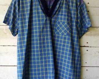 Checked Cotton Short Sleeve Men's T-Shirt (M)