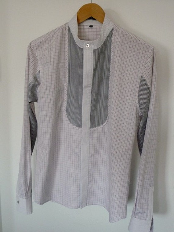 Men's shirt with stand up collar and plaquet in white, lightpink and black (M)
