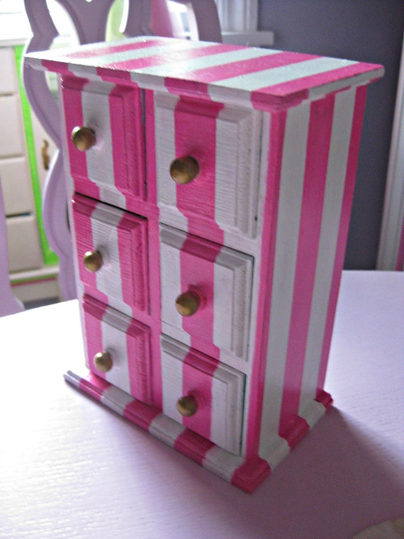 SALE Pink and White Stripe chest of drawers with Aqua interior