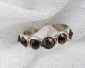 Garnet ring. Sterling silver ring. Natural Garnet spikes ring. Silver ring. Garnet silver ring. Silver garnet ring. (sr-9531-587)