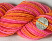 Strawberry Clementine - Handspun Hand painted Soft Merino Wool Yarn