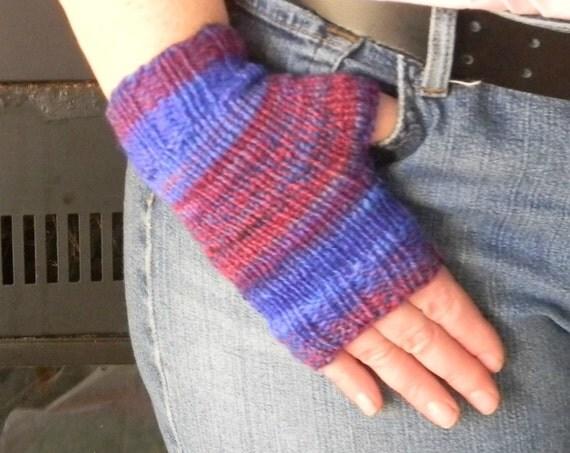 Fingerless Mitts, Hand knit handspun Merino yarn, soft handwarmers, texting gloves