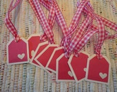 Heart Tags Pink   Set of 8