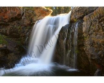 Moose Falls - Matted photograph of a waterfall in Yellowstone National Park, Wyoming