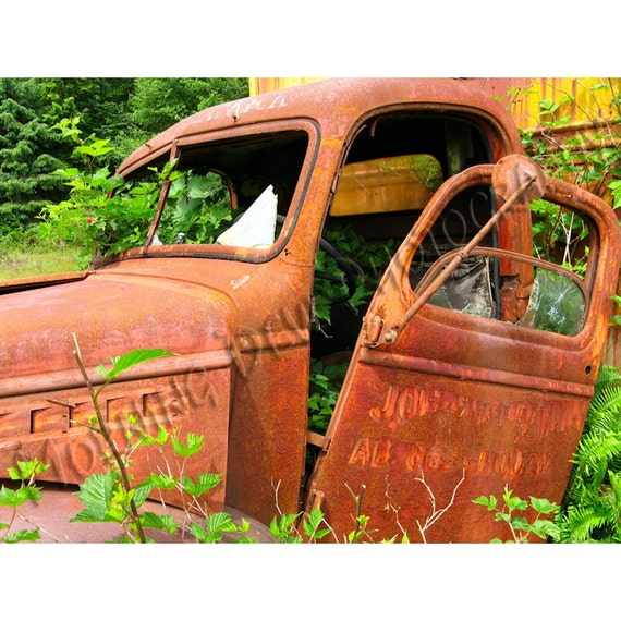 Old Truck Matted Photograph Of An Abandoned Truck With