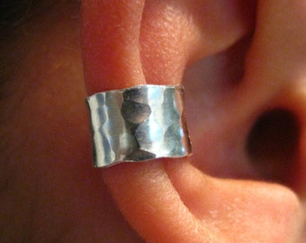 Sterling Silver Ear Cuff Hand Forged Textured