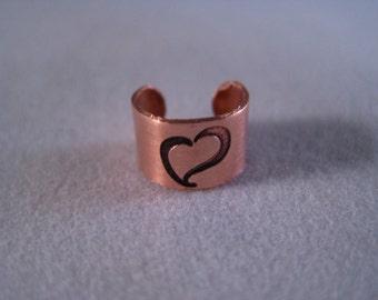 Heart Copper Ear Cuff