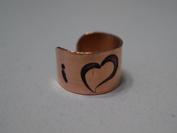 Copper Ear Cuff - I love Mom with a Heart