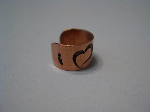 Handmade Copper Ear Cuff  I Love Mom with a Heart