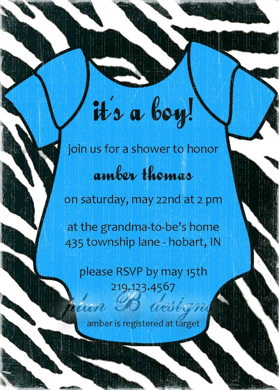 Zebra Print  Onesie Baby Shower Invitation : Girl or Boy