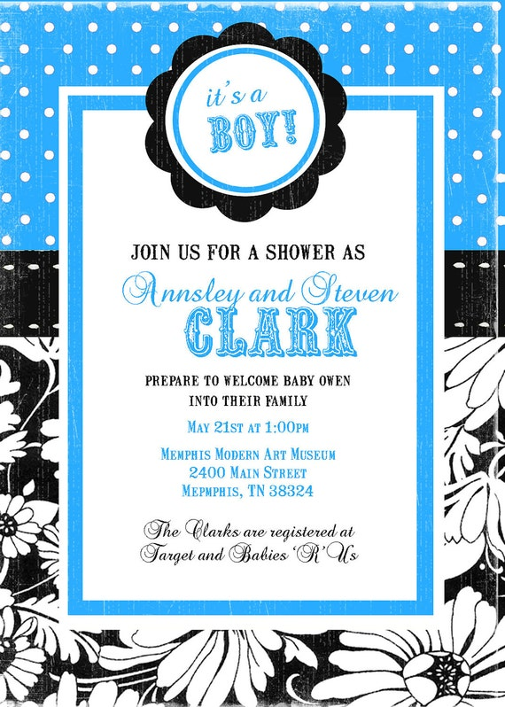 Modern Polka Dot and Floral Baby Shower Invitation (Print Your Own)