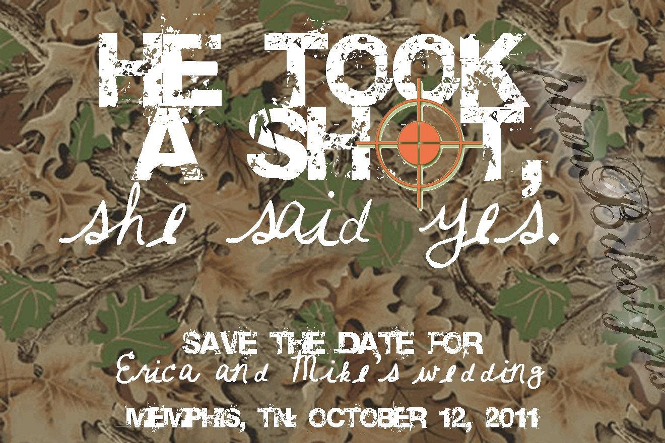 camo save the date  etsy, Wedding invitations
