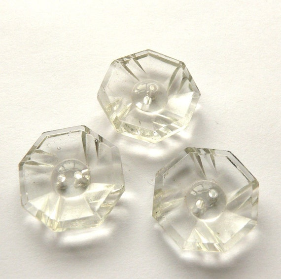 Vintage octagonal glass buttons