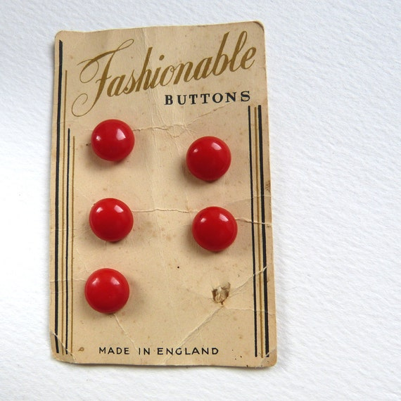Set of 5 Vintage English Red Domed Buttons