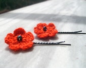 Crochet  Hair Clips Red Flower 2 pieces