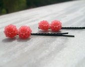 Hair Clips Pink Flower 2 pieces