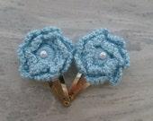Blue Crocheted Flower Hair Clip