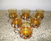 Six Vintage Ambra Glass Coffe Cups with Stainless Steel Handle