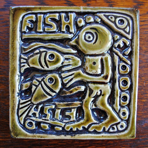 SALE-- fish humorous carved ceramic tile nude diver green clay wall hanging