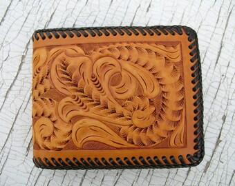 Leather Wallet With Vintage Floral Design