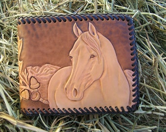 Men's Leather Wallet with Horse and Oak Leaves