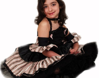 Pageant casual wear Pageant Runway Steampunk dress set OOC Pageant Cosplay  custom size 12m 2 3 4 5 6 7 8 9 10 yrs