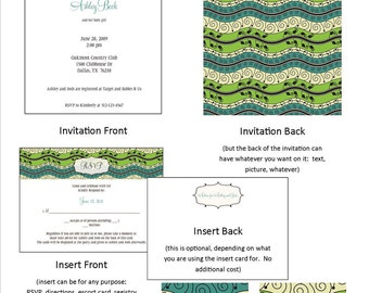 Printable Party Invitation - with insert card - wedding, shower, anniversary party, engagement party