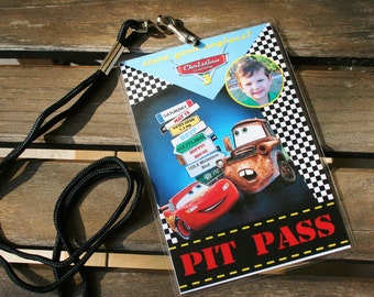 Custom Personalized Pixar Cars Birthday Invitation Pit Pass World Signs - diy printable - with or without photo