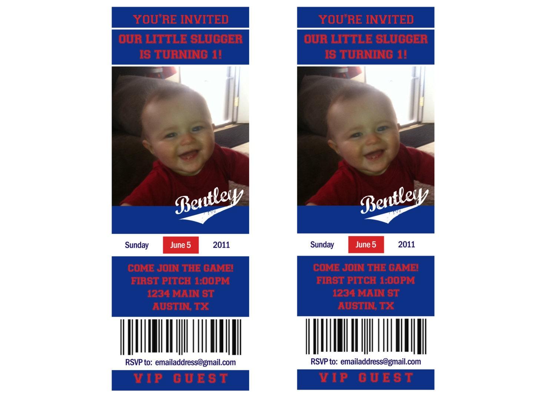 Printable Baseball Ticket Birthday Photo