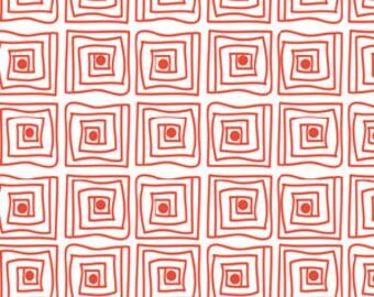 Orange squares-Summer Time by Barbara Jones for Henry Glass--MODERN print