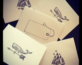 Nautical Stationary //  Whale Weather-vane, Sailboat and Tag // Handmade Note Cards // Stationery // 5 Pack