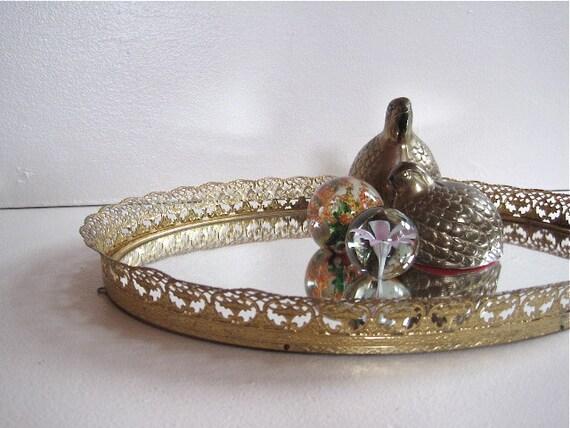 "Vintage Oval Gold Toned Filigree Vanity Mirror Tray 1960s // 15 1/2"" x 10 1/2"""